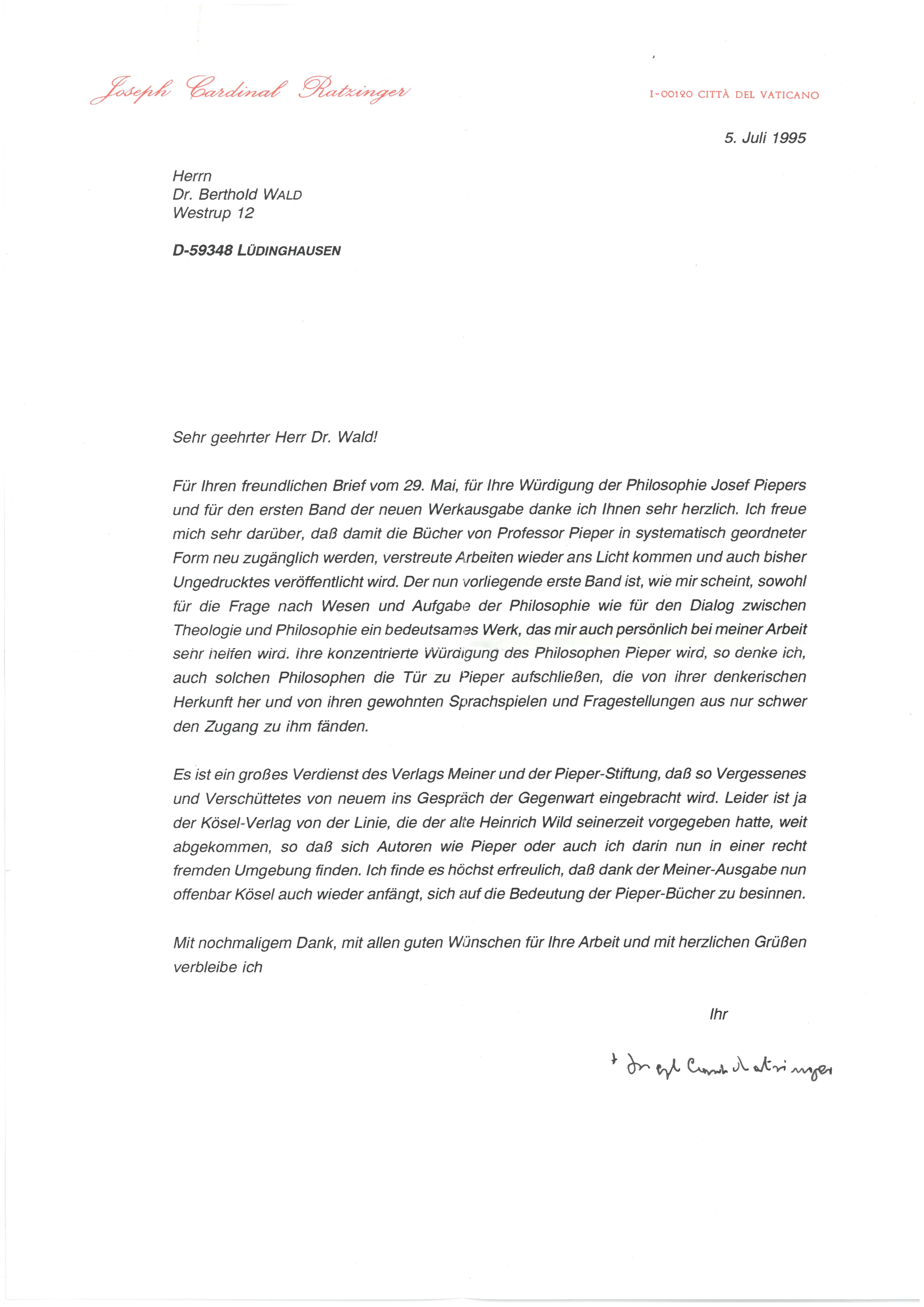 1. Brief von Joseph Kard. Ratzinger