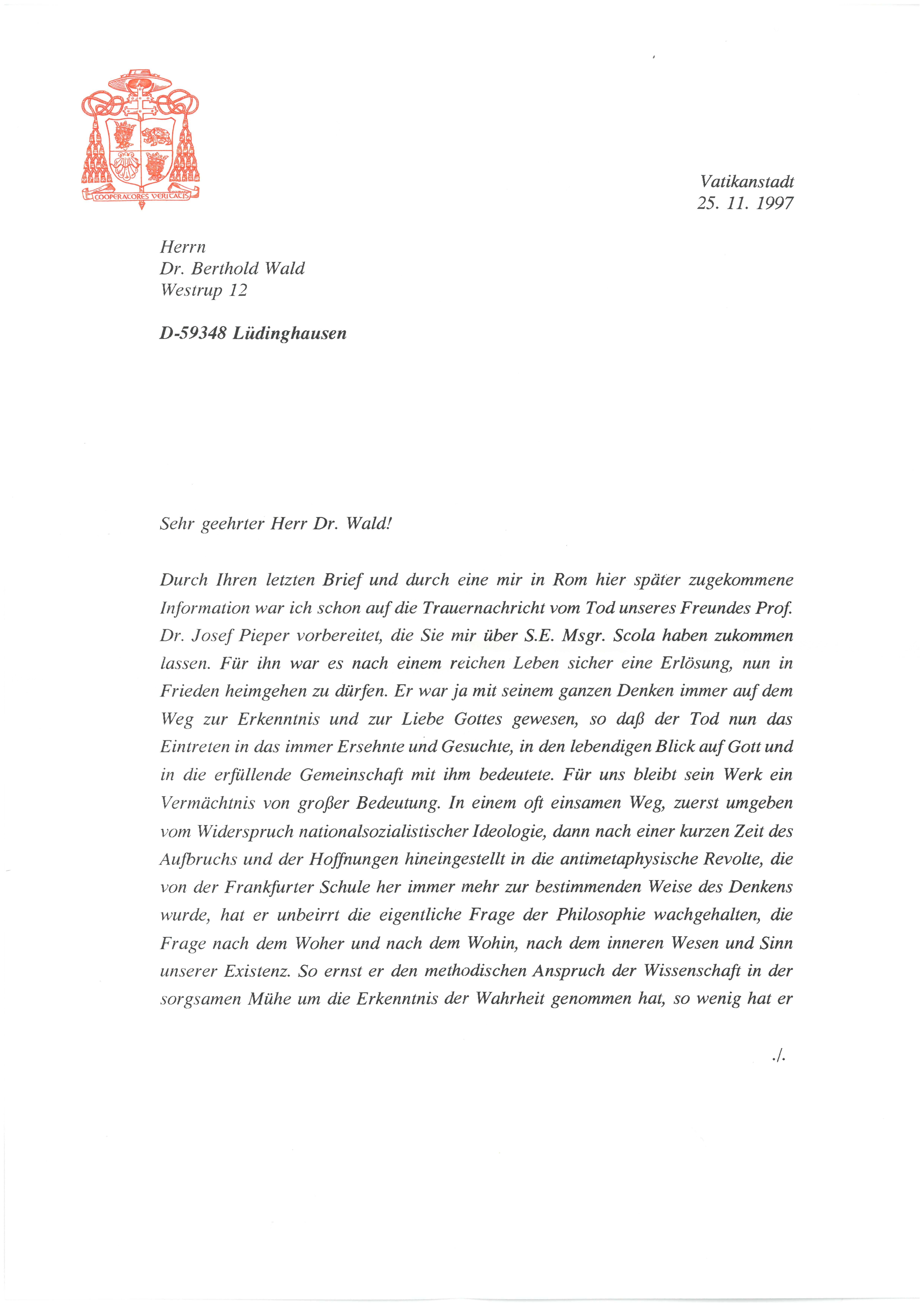 2. Brief von Joseph Kard. Ratzinger Seite 1