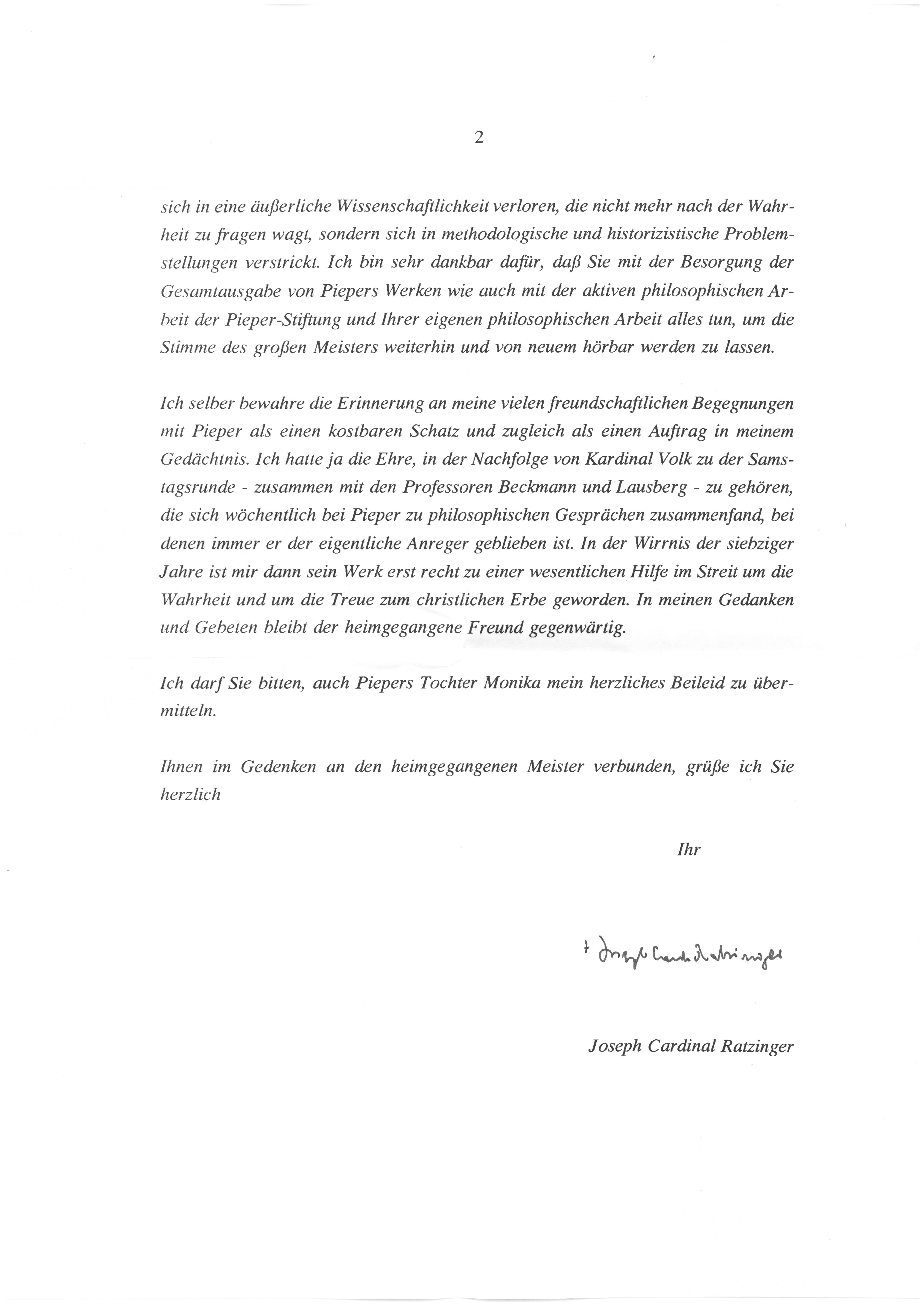 2. Brief von Joseph Kard. Ratzinger Seite 2