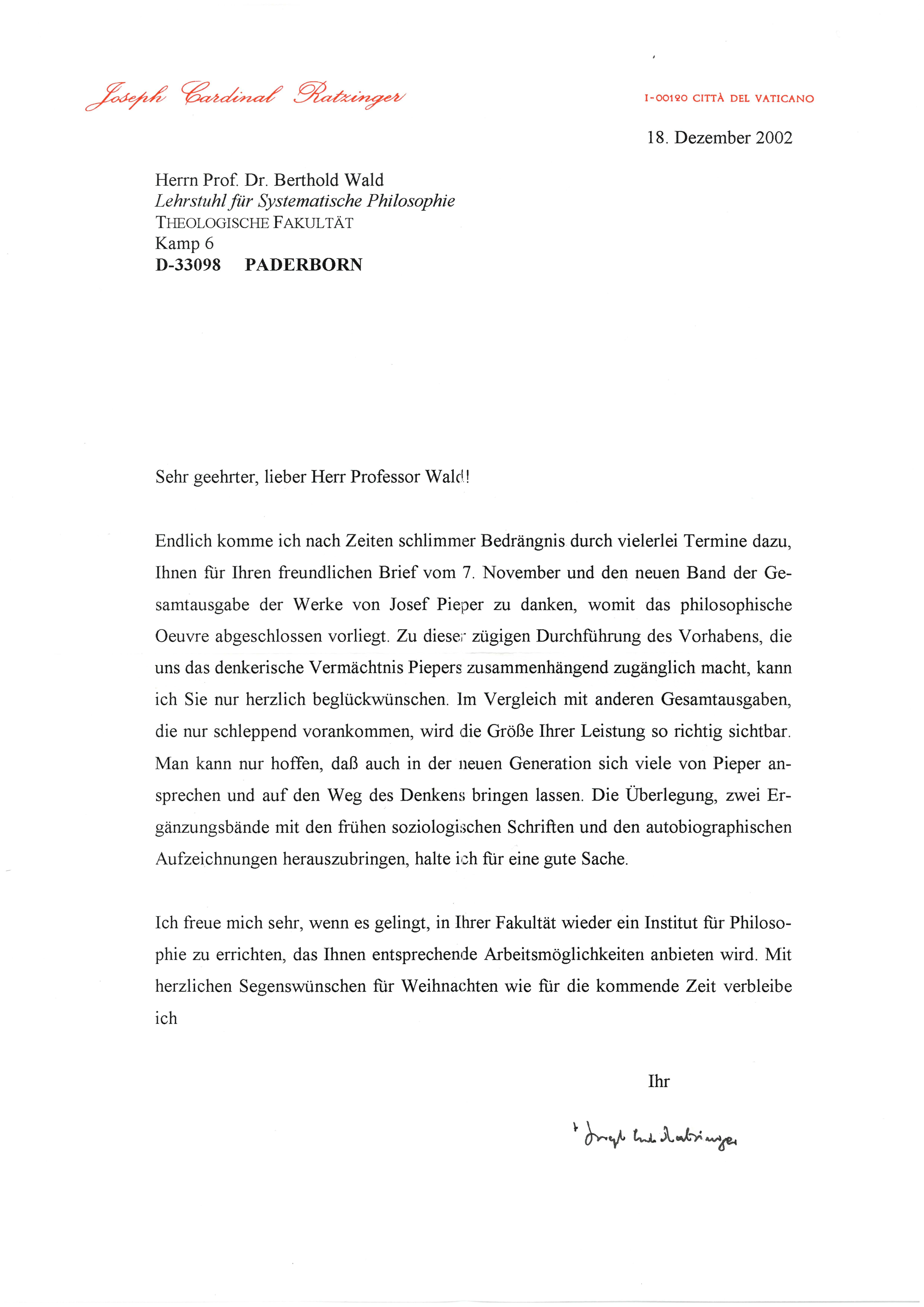 3. Brief von Joseph Kard. Ratzinger