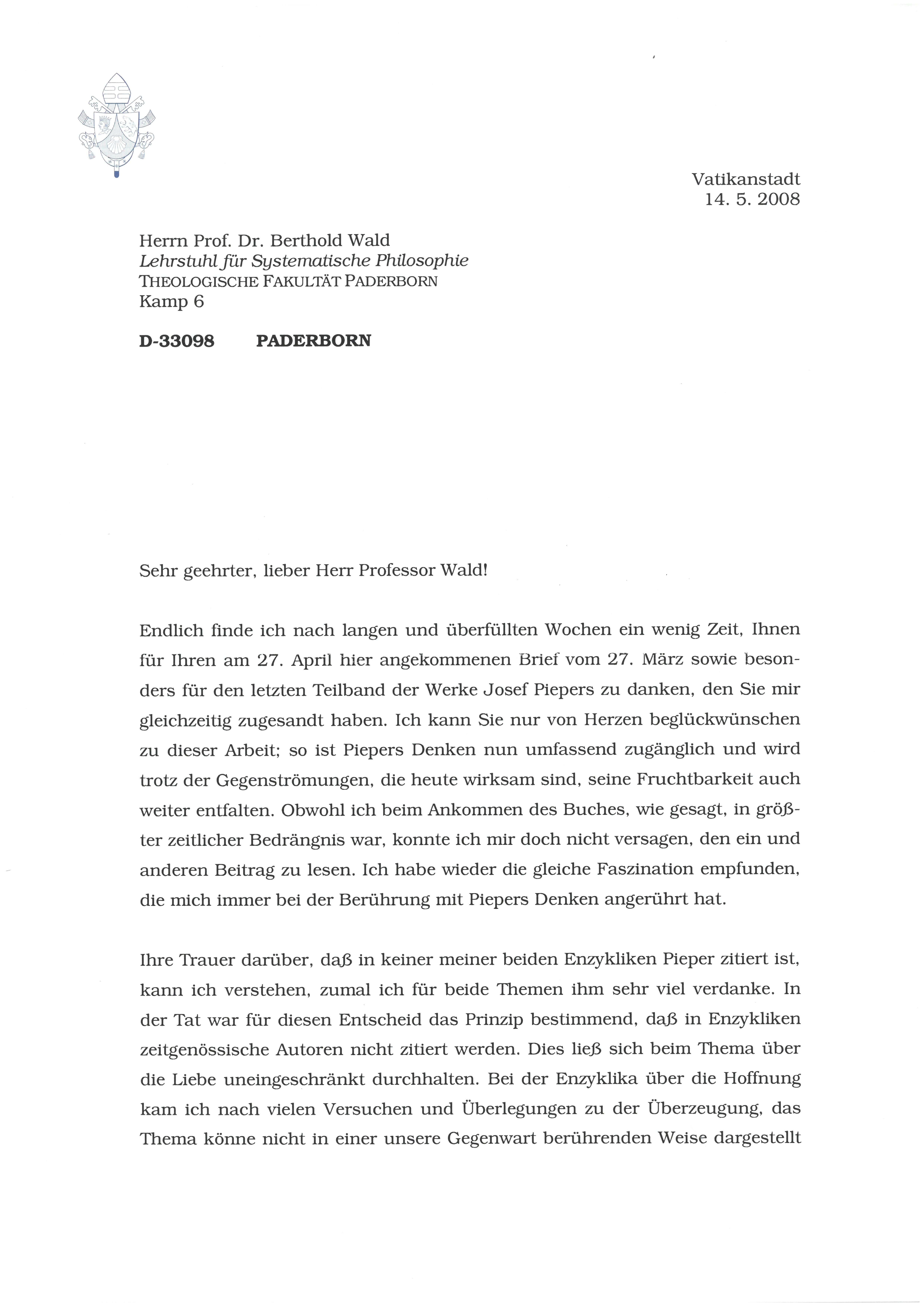 1. Brief von Papst Benedikt XVI Seite 1