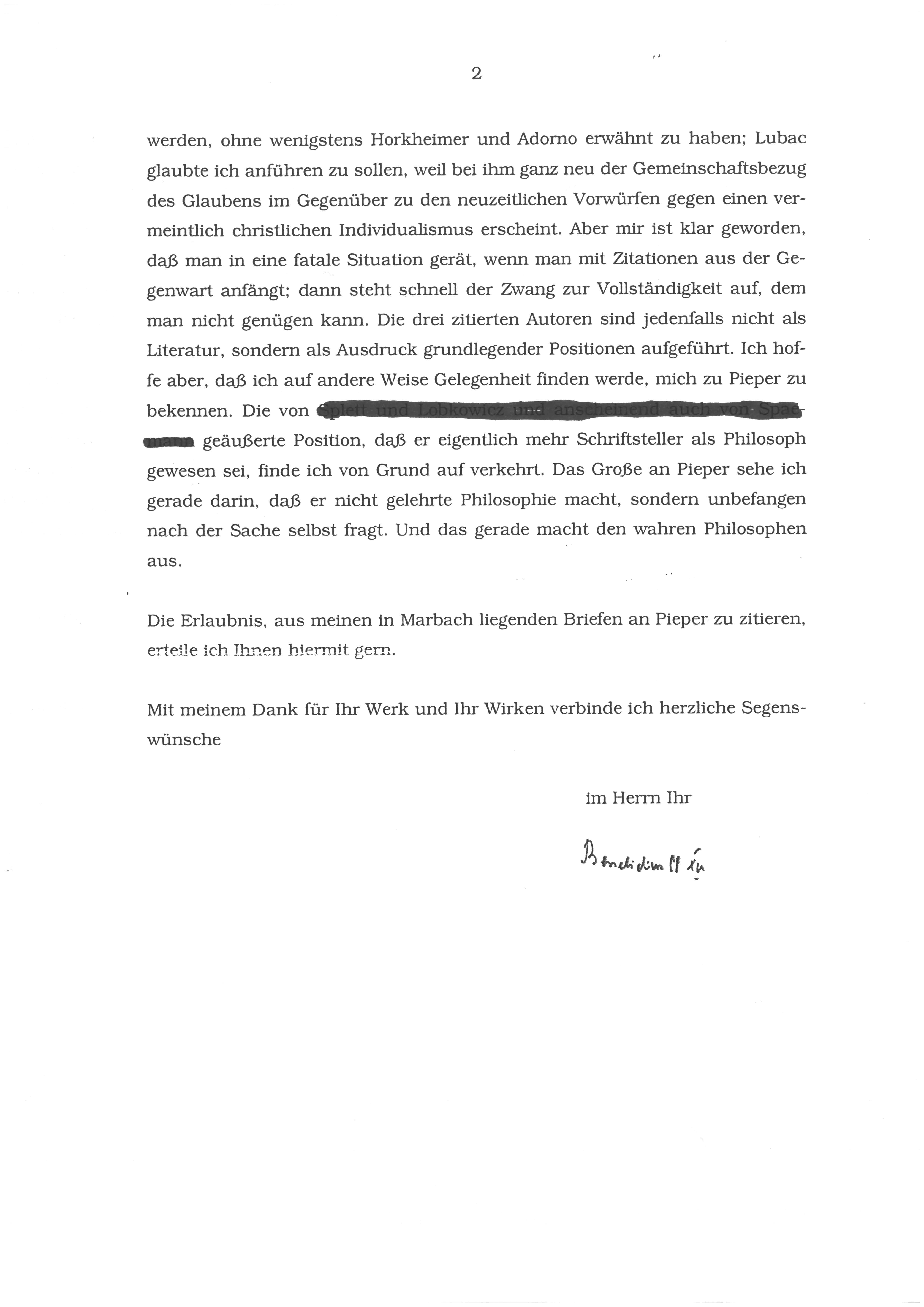 1. Brief von Papst Benedikt XVI Seite 2