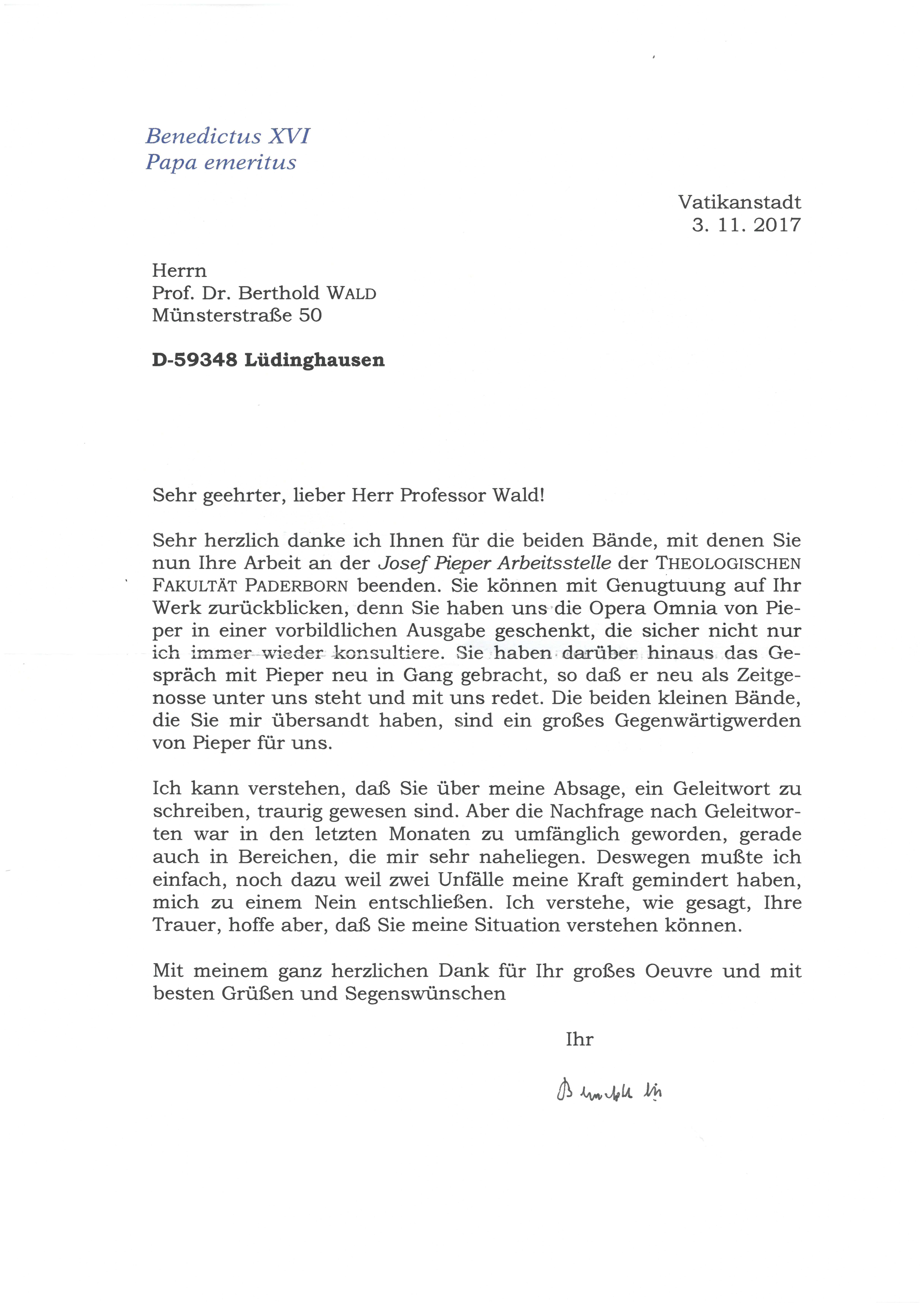 2. Brief von Papst Benedikt XVI