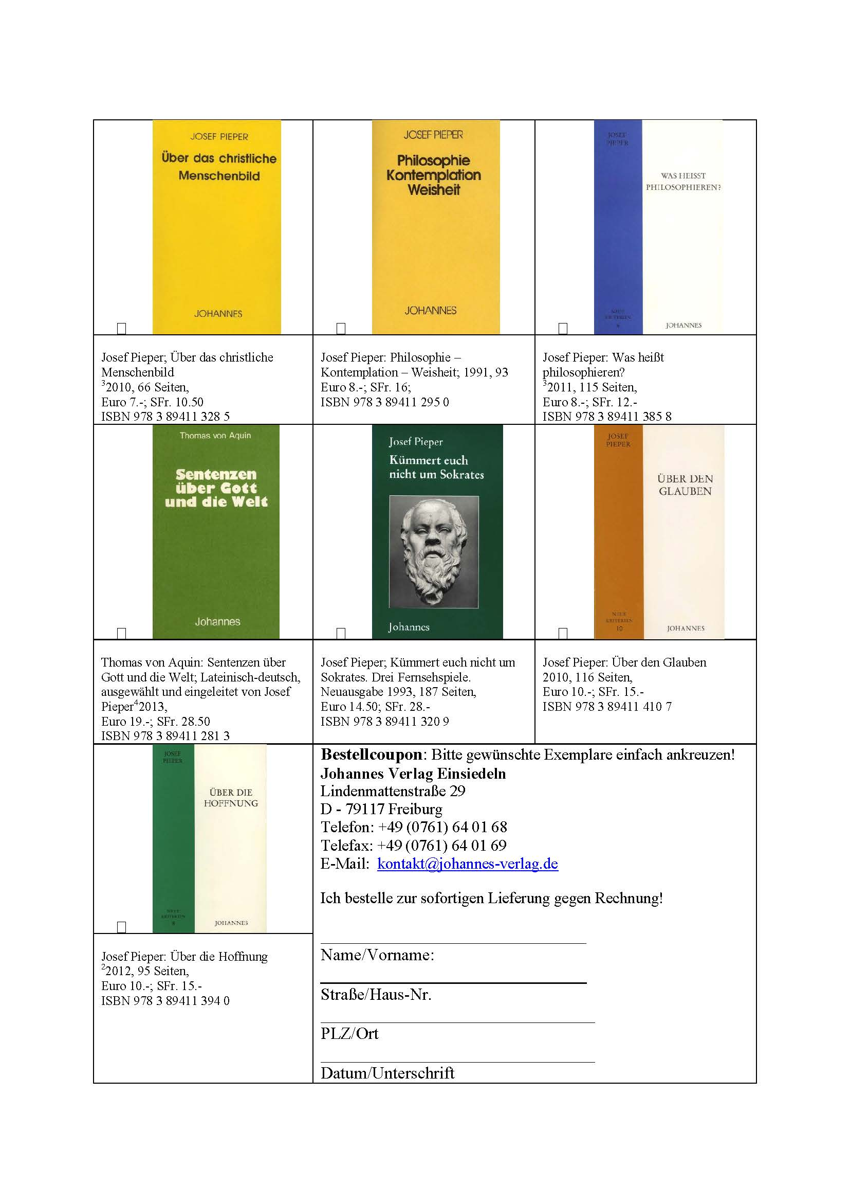 Einzelausgaben 2 Johannes Verlag Einsiedeln mit Rahmen